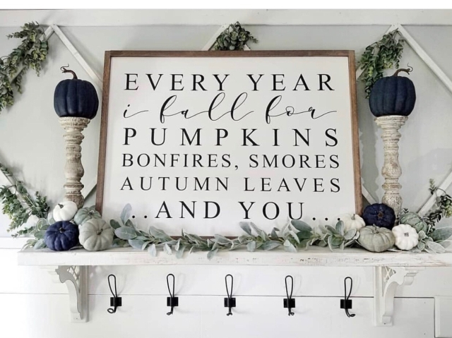 Fall mantle styling guide by the dotted bow how to decorate the perfect fall blue pumpkin mantlescape