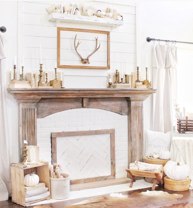 Fall mantle styling guide by the dotted bow how to decorate the perfect neutral fall farmhouse mantlescape