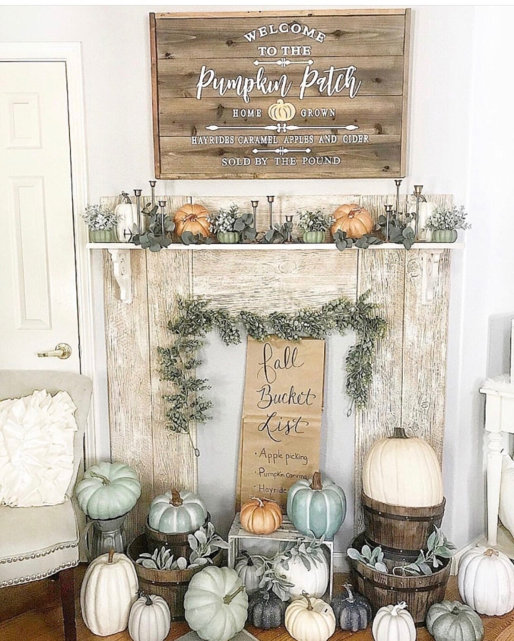 Fall mantle styling guide by the dotted bow how to decorate the perfect fall farmhouse faux mantlescape