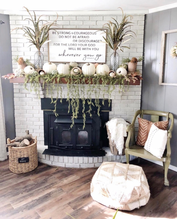 Fall mantle styling guide by the dotted bow how to decorate the perfect modern farmhouse fall mantlescape