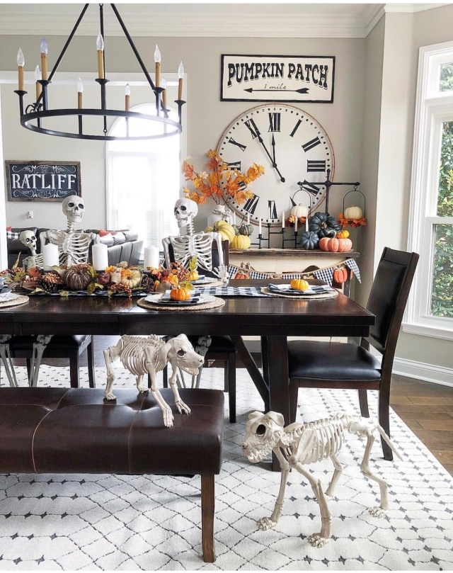 Halloween decor trends flying paper bats Halloween mantle Skeletons