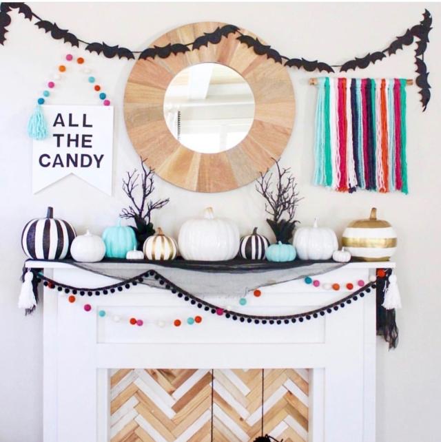 Halloween decor trends flying paper bats Halloween mantle