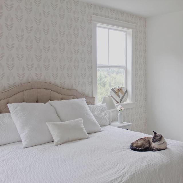 Modern farmhouse bedroom neutral wallpaper