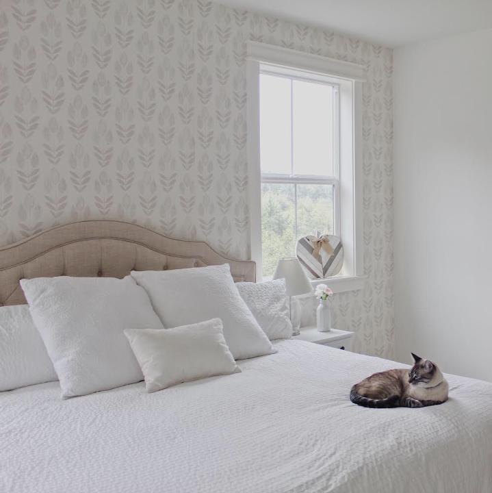 Modern farmhouse bedroom neutral wallpaper