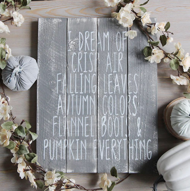 I dream of fall wood sign by the dotted bow
