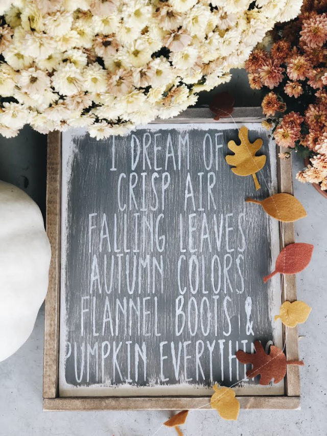 I dream of fall wood sign by the dotted bow fall decor