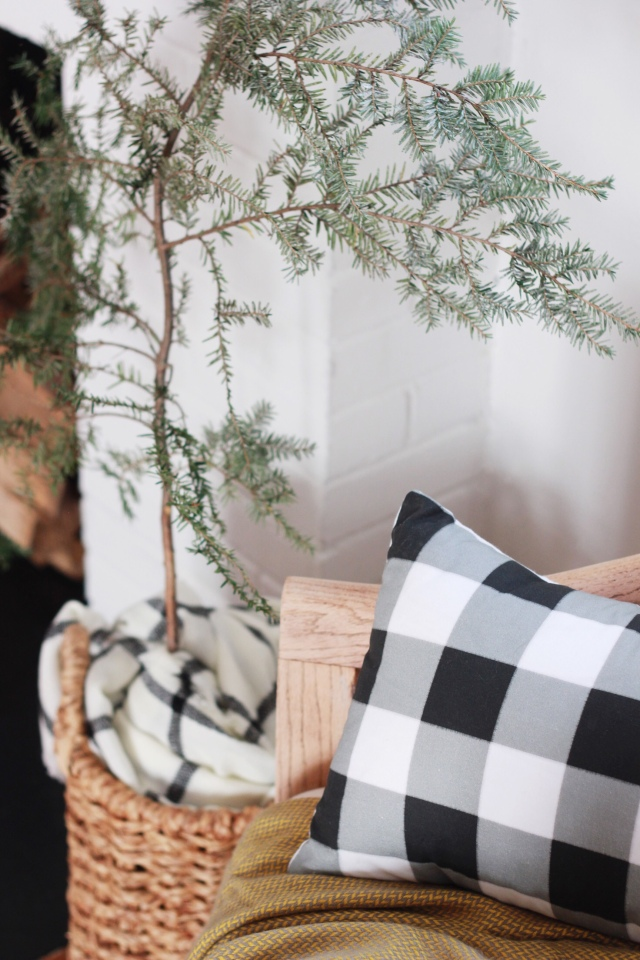Modern farmhouse home decor buffalo plaid pillow