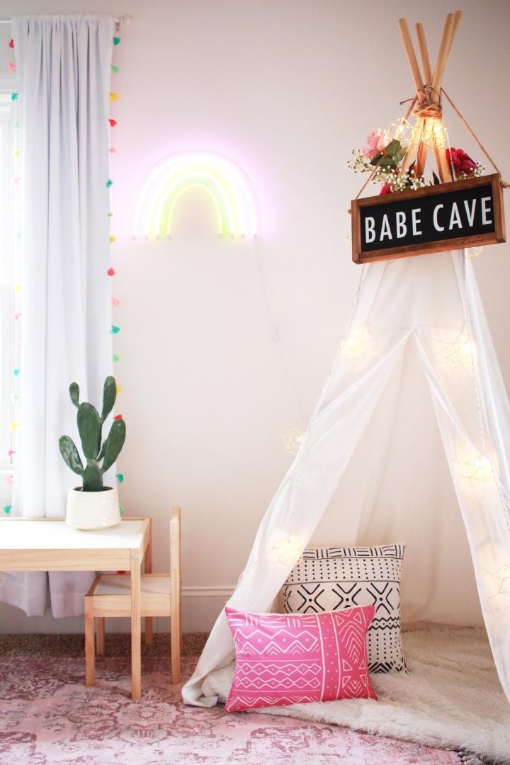 Modern farmhouse playroom kids teepee babe cave