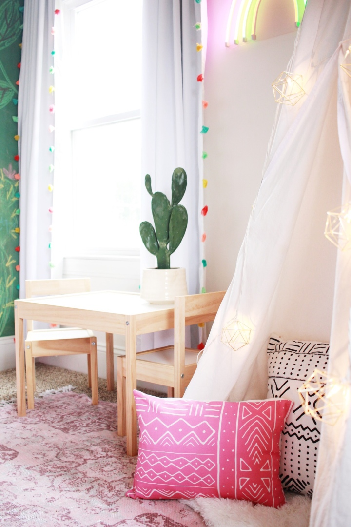 Modern farmhouse playroom kids teepee babe cave
