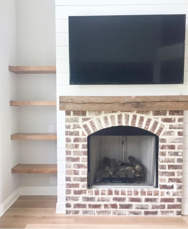 Modern farmhouse fall farmhouse decor brick fireplace