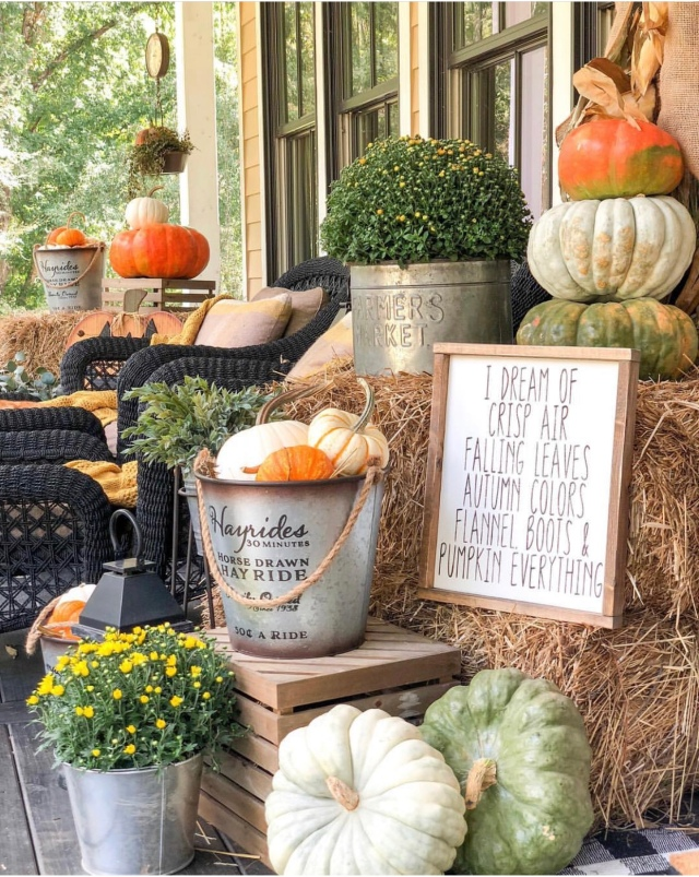 Modern farmhouse Fall farmhouse front porch