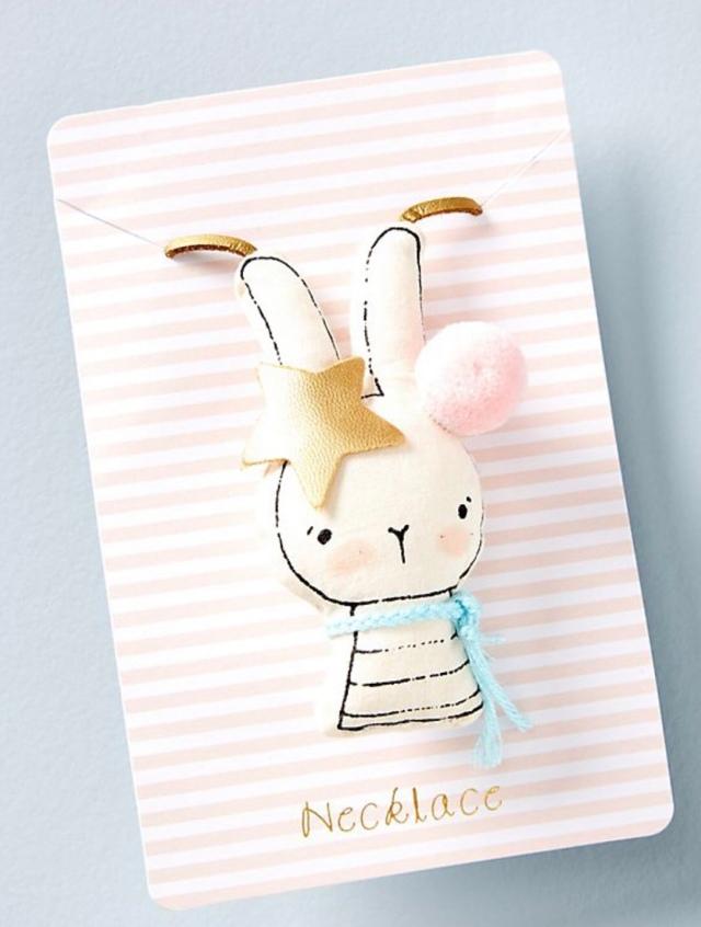 Easter basket gift kids bunny necklace
