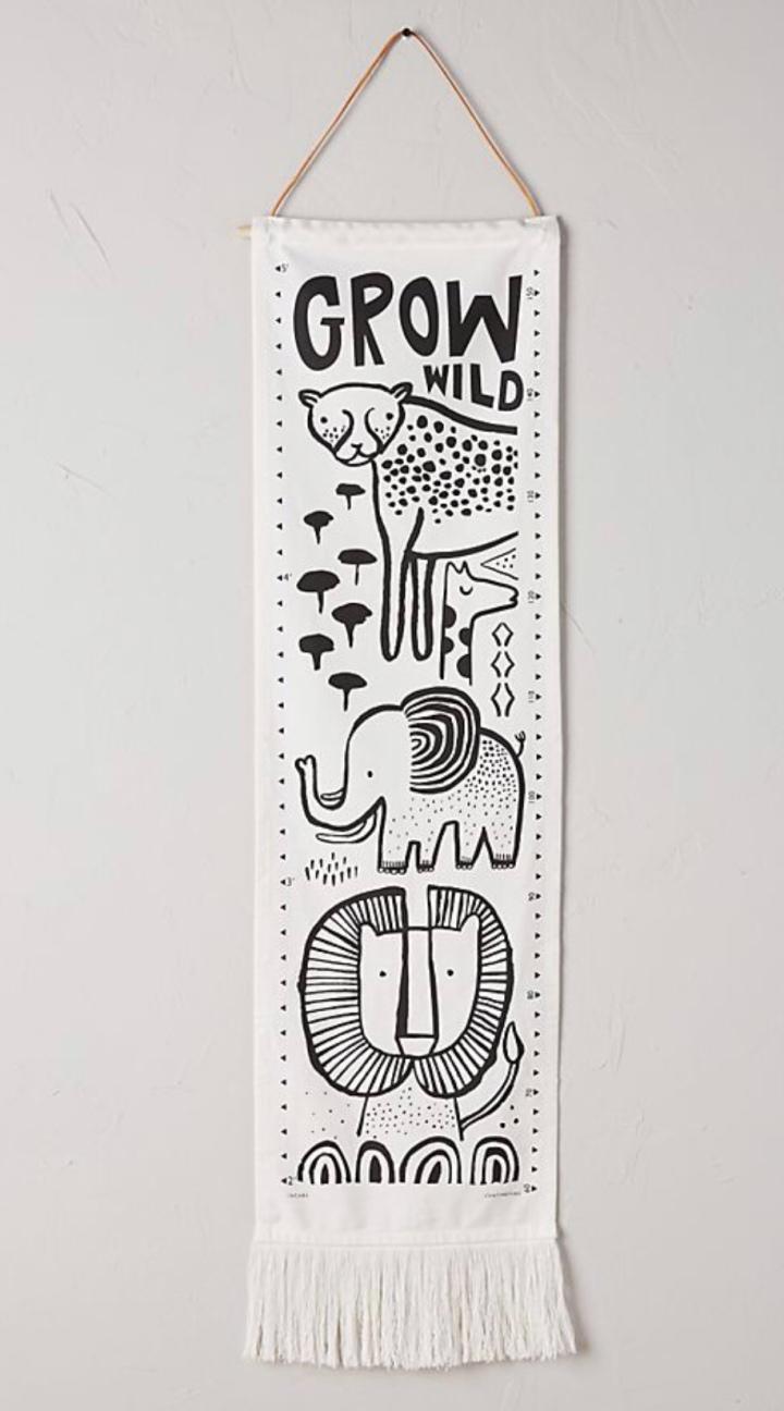 Fabric growth chart neutral growth chart jungle growth chart