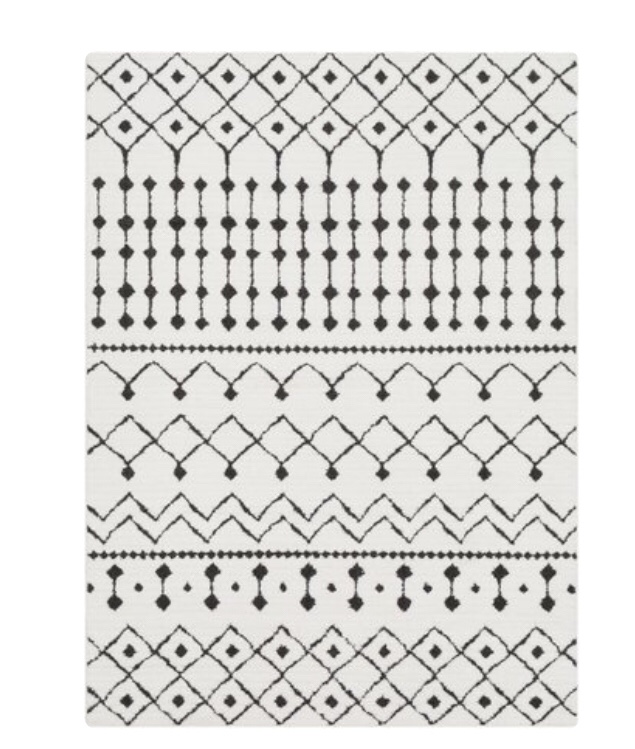 Modern Moroccan rug black and white rug geometric rug