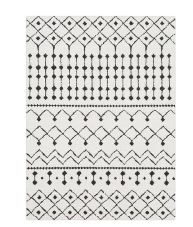 Modern Moroccan rug black and white rug geometric rug