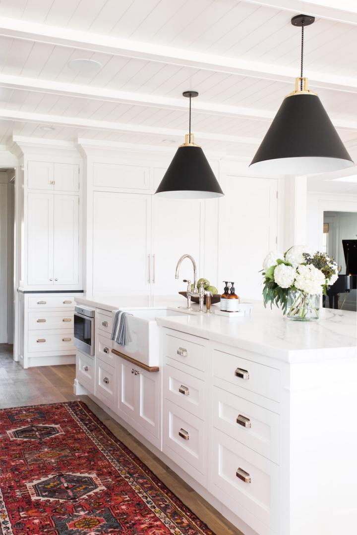 Modern kitchen vintage rug white kitchen