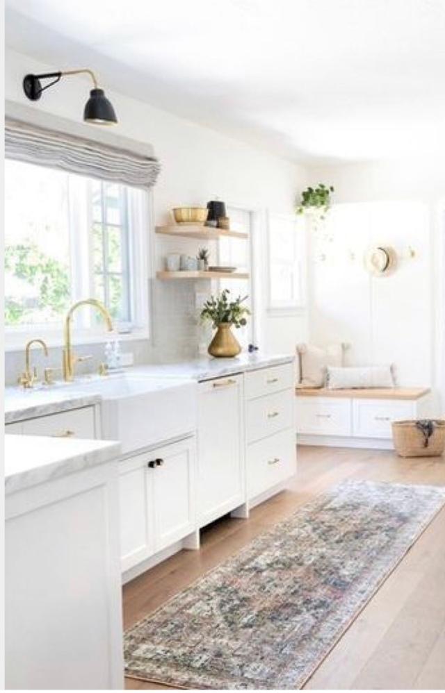 Modern kitchen white kitchen vintage rug kitchen
