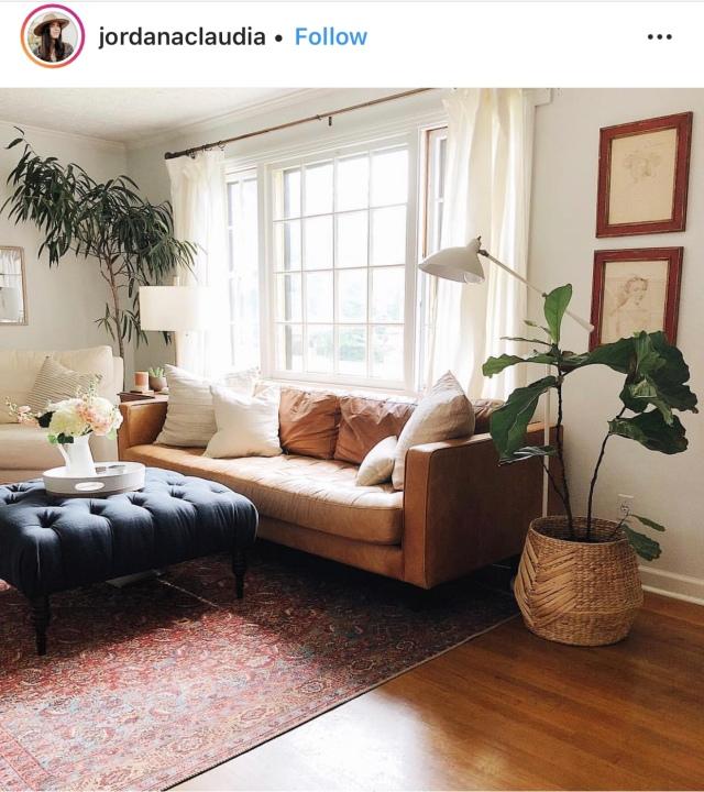 Modern boho mid century modern living room neutral living room decor vintage rug