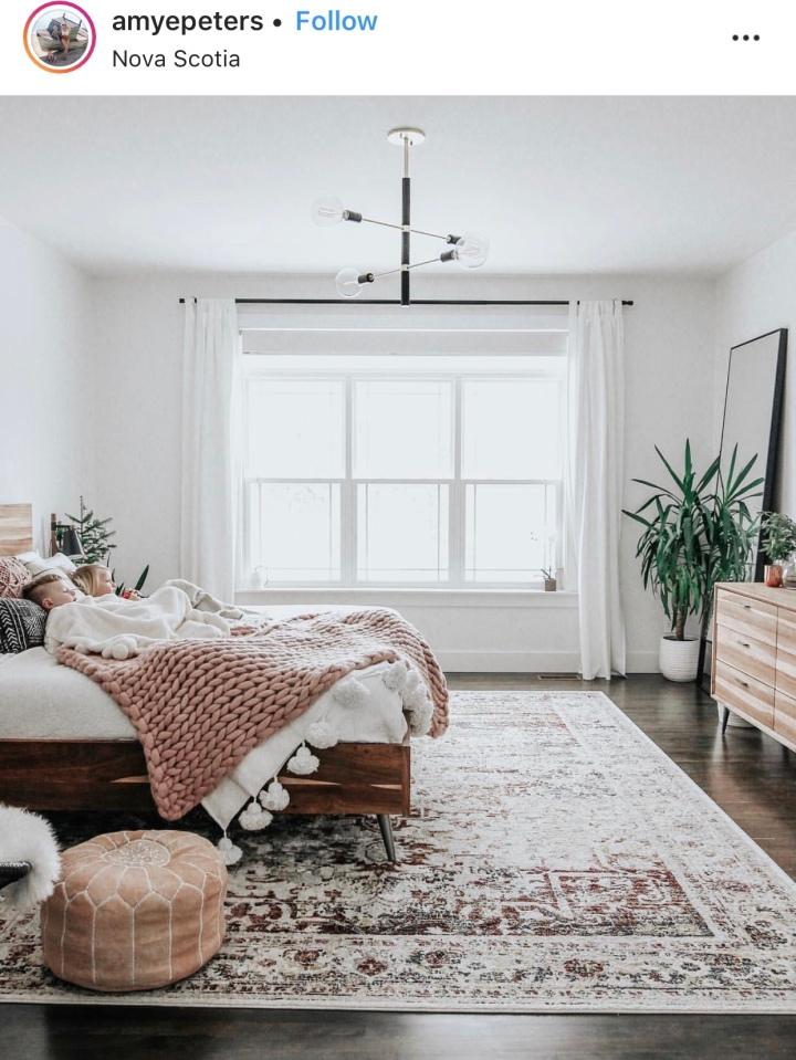 Modern boho bedroom vintage rug bedroom