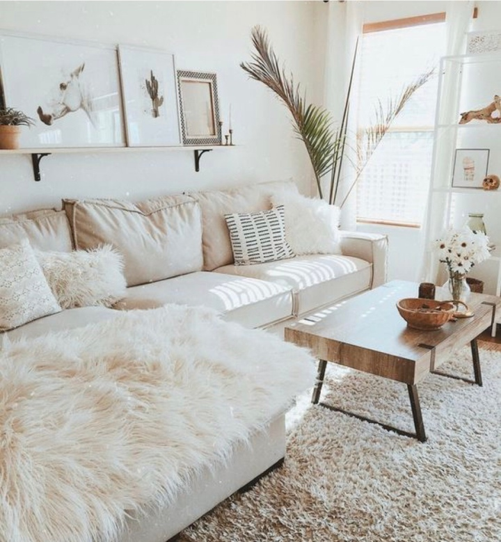 Modern boho living room neutral living room