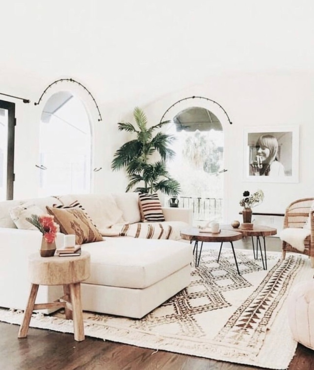 Modern boho living room neutral living room Moroccan shag rug