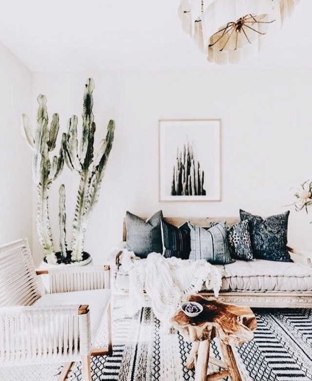 Modern boho living room neutral living room Moroccan shag rug