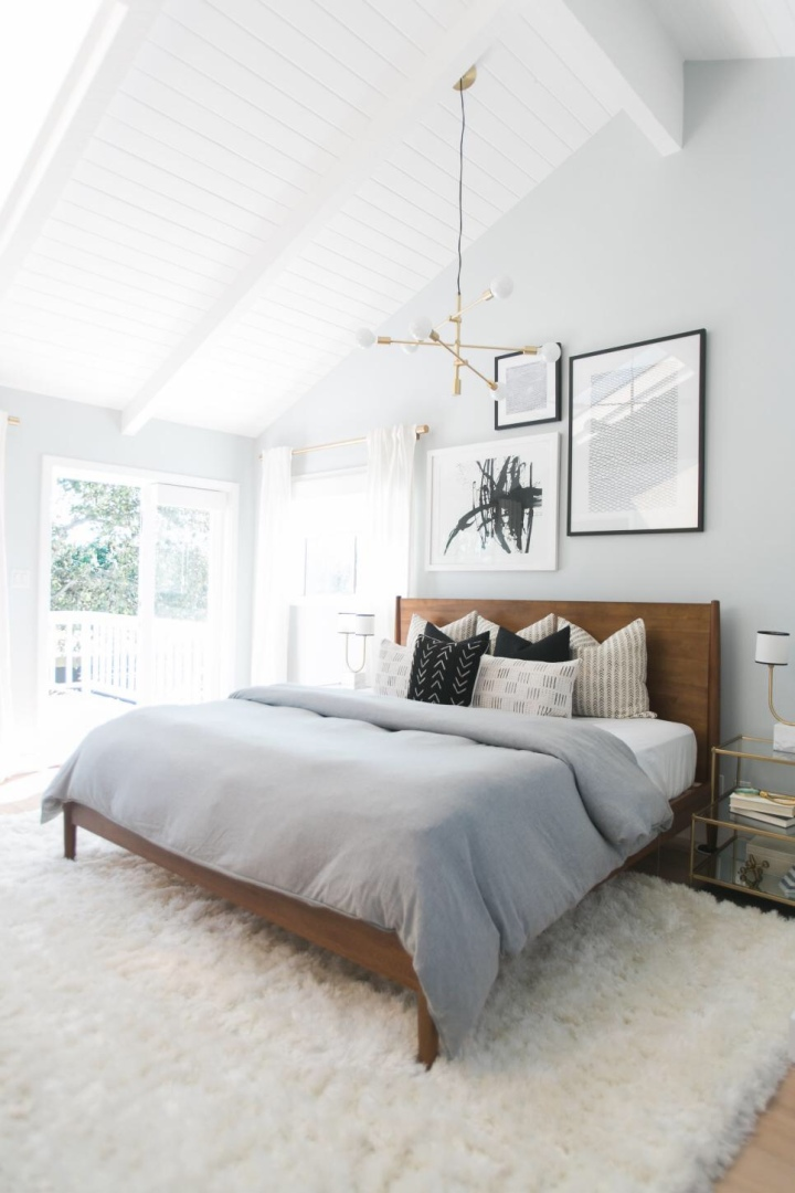 Modern minimal bedroom neutral bedroom shag rug