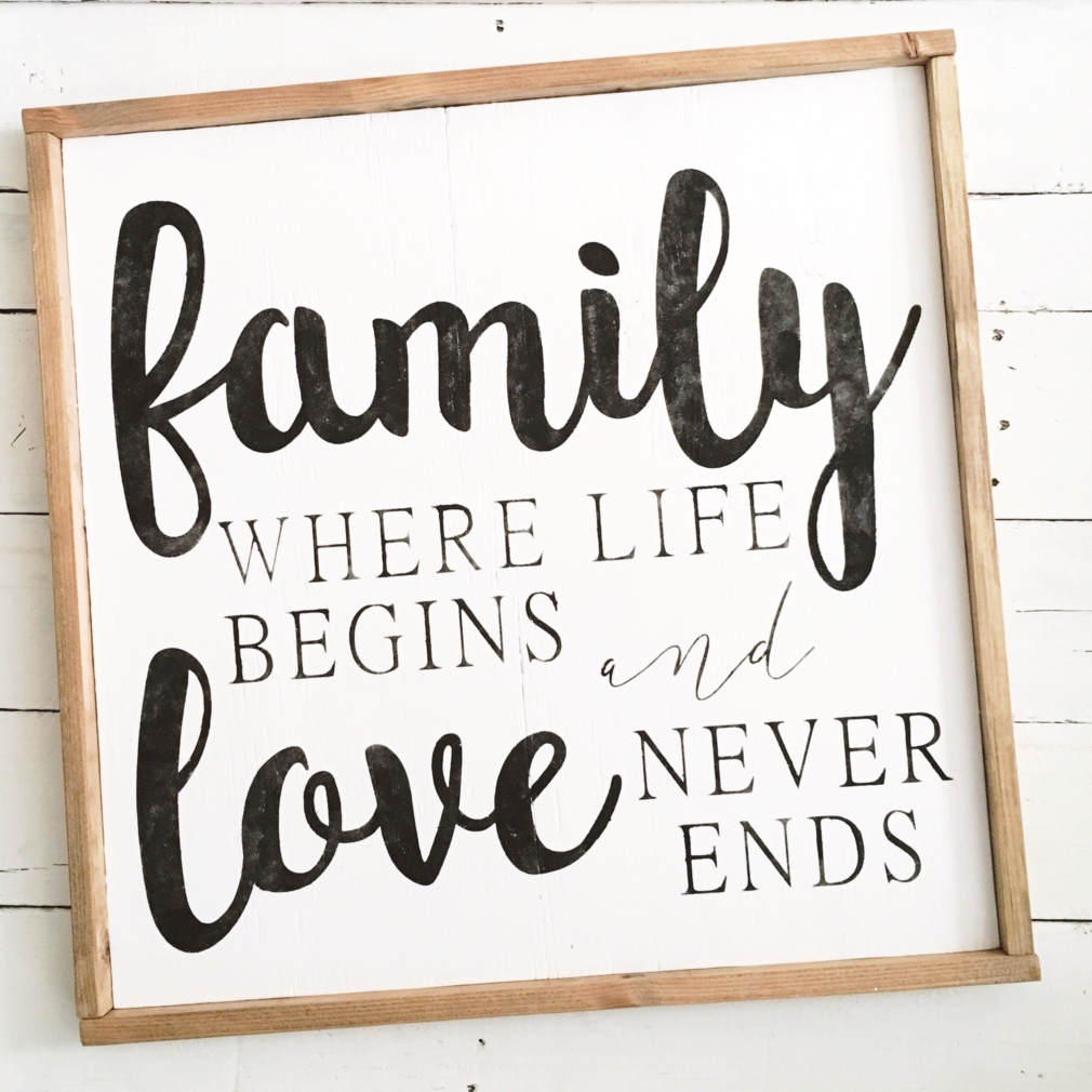 Family where life begins and love never ends wood sign // pallet sign // framed sign // wood sign// wall decor // wall art