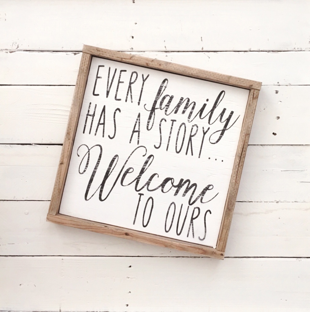 Every Family Has a Story... Welcome to Ours wood pallet sign // pallet sign // framed sign // wood sign// wall decor // wall art