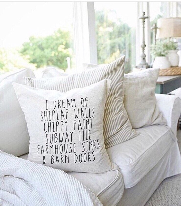 I dream of shiplap walls farmhouse pillow Joanna Gaines Liz Marie pillow