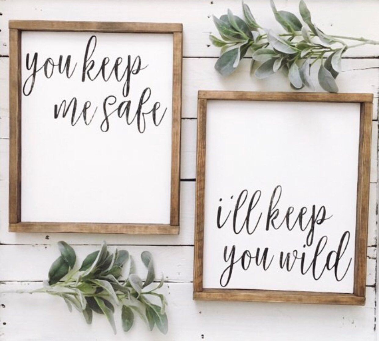 You keep me safe // I'll keep you wild wood sign set // pallet sign // framed sign // wood sign// wall decor // wall art