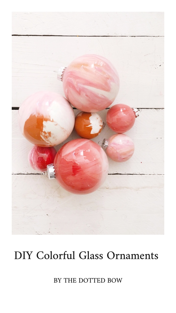 DIY glass ornaments painted ornaments blush pink ornaments modern ornaments kids Christmas craft homemade Christmas