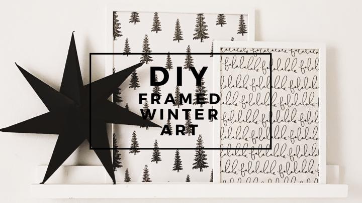 DIY frames winter art Christmas wrapping paper Christmas gallery Christmas wall decor