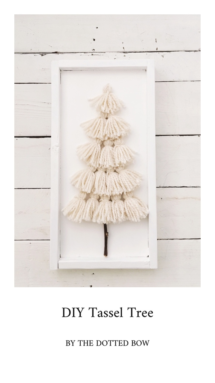 DIY Yarn Tassel Christmas Tree Wood Sign Handmade Christmas DIY Christmas