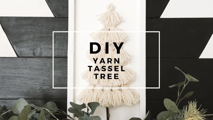 DIY Yarn Tassel Tree Wood Sign DIY Christmas Handmade Christmas Yarn Crafts