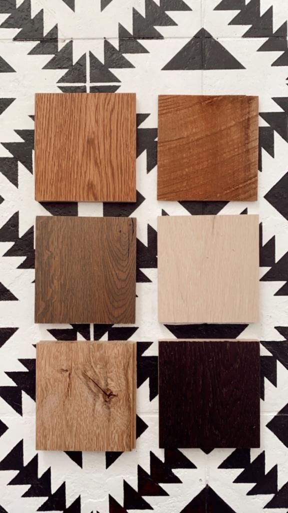 Wood samples barn door design
