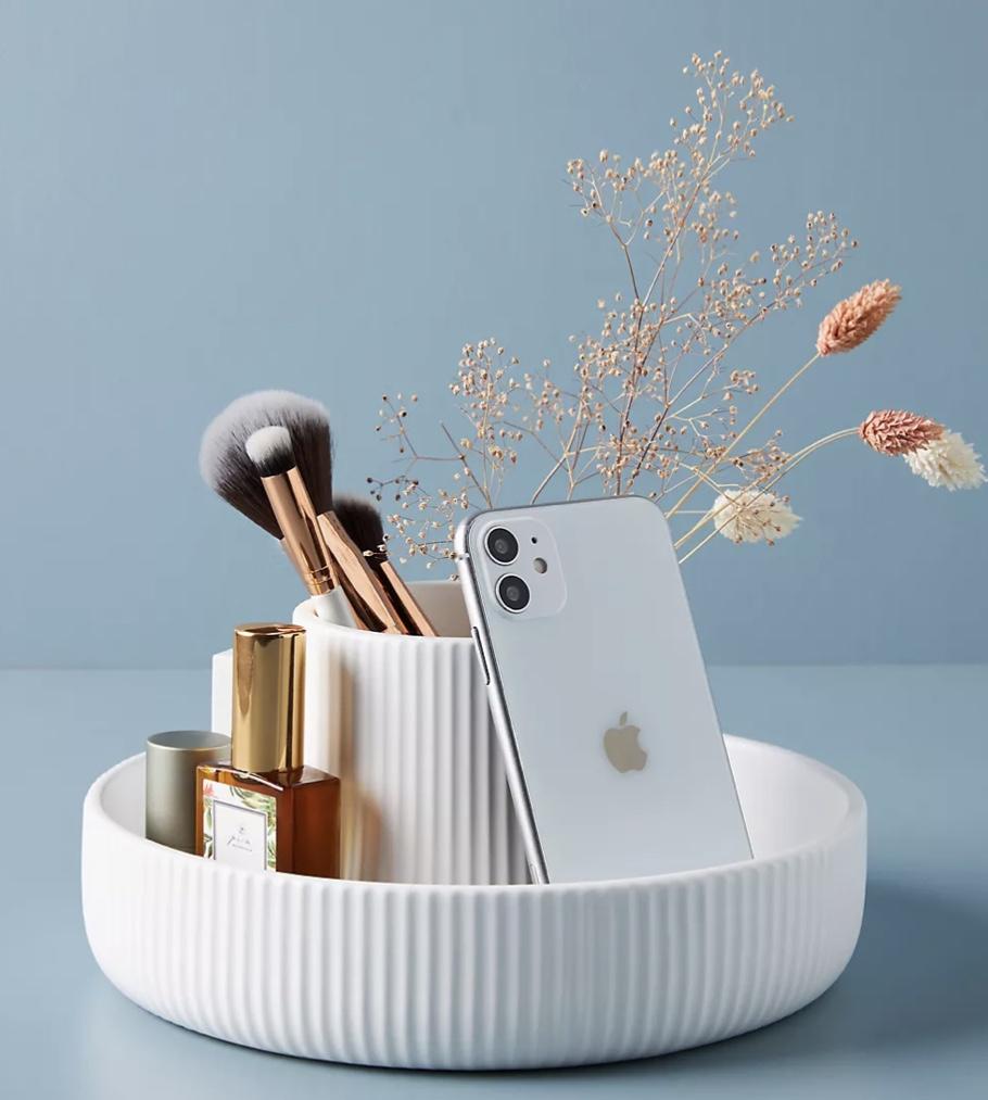 Ceramic vase and storage makeup brush holder jewelry dish modern bathroom decor