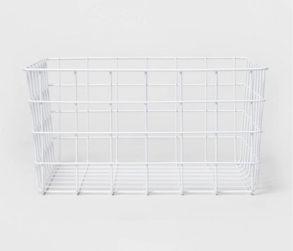 White wire storage basket bathroom storage bathroom organization