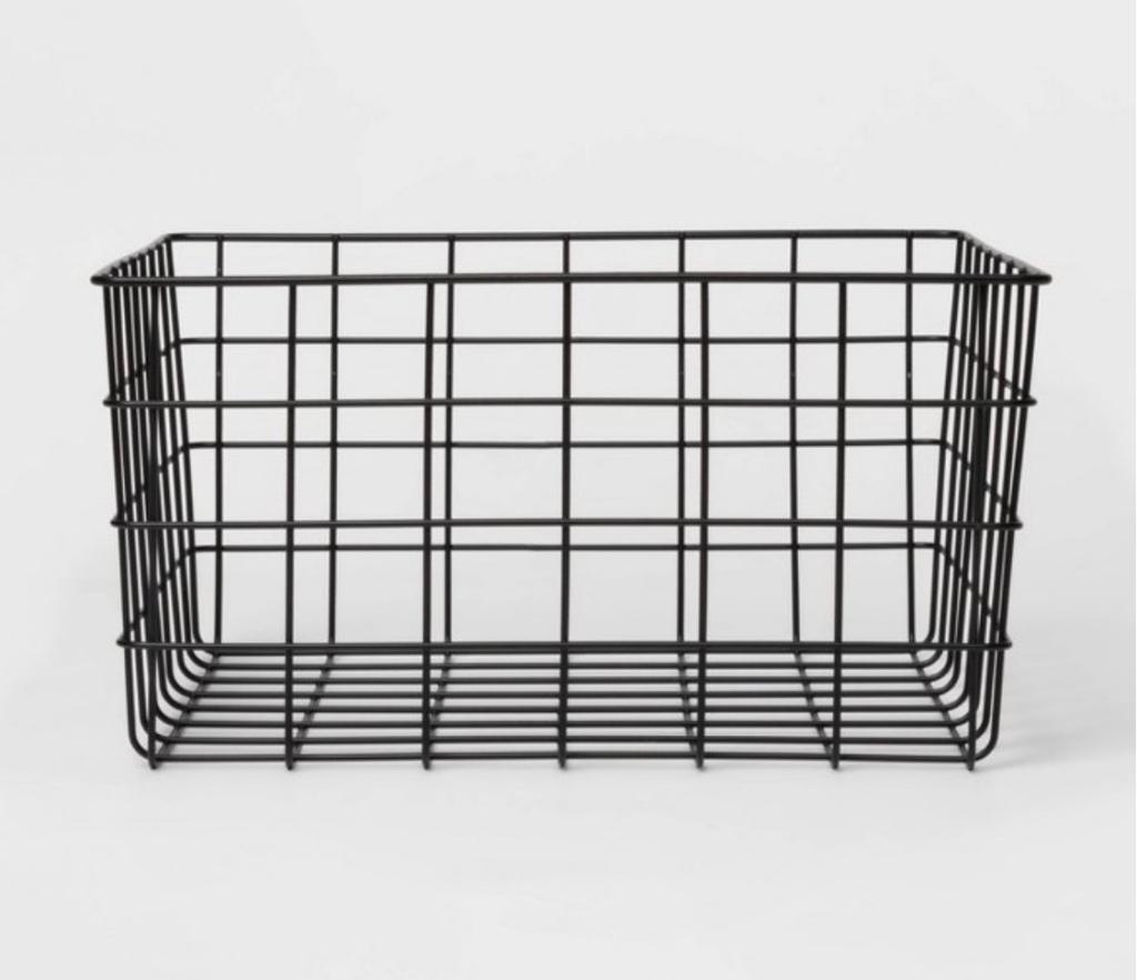 Black wire storage basket bathroom storage bathroom organization