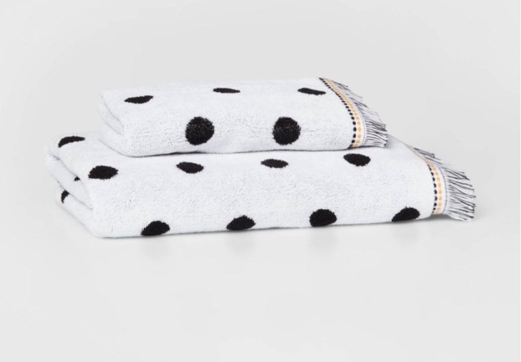 Black and white towels polka dot towels fringe towels boho towels