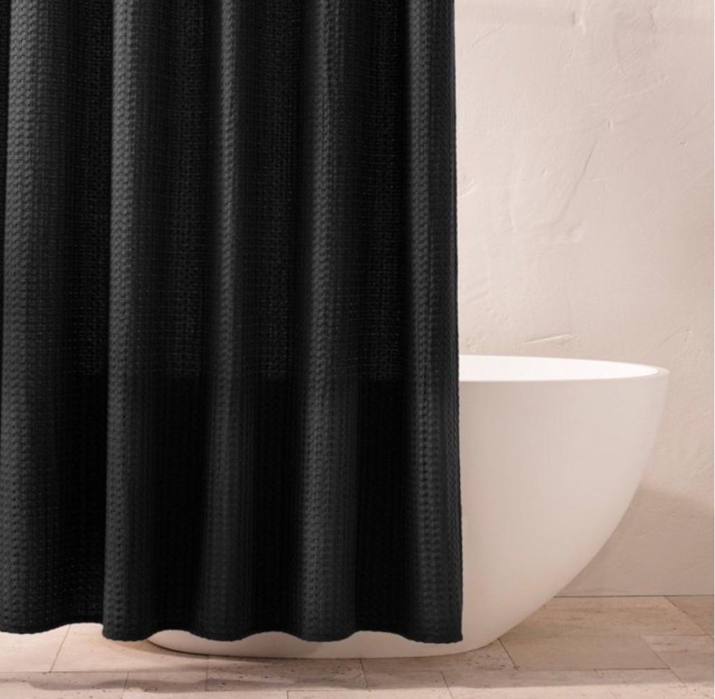 Black shower curtain black waffle weave curtain luxury look moody bathroom decor black bathroom