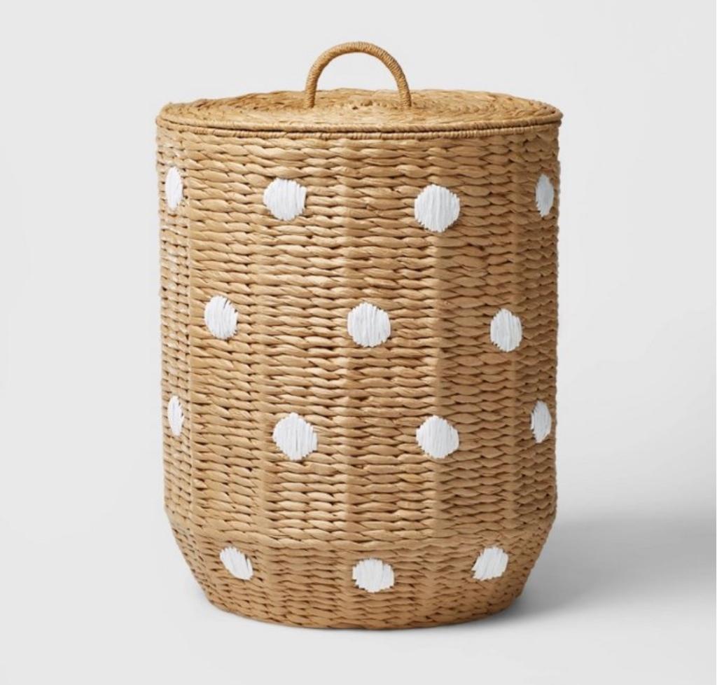 Polka dot hamper woven basket dot basket boho laundry basket